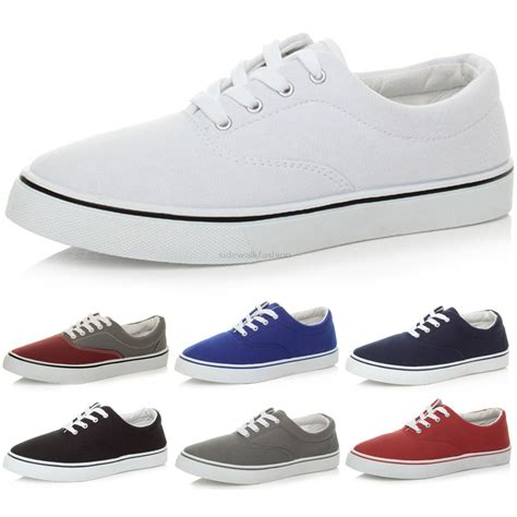 mens canvas casual flat trainers plimsoles plimsolls shoes lace up pumps size ebay