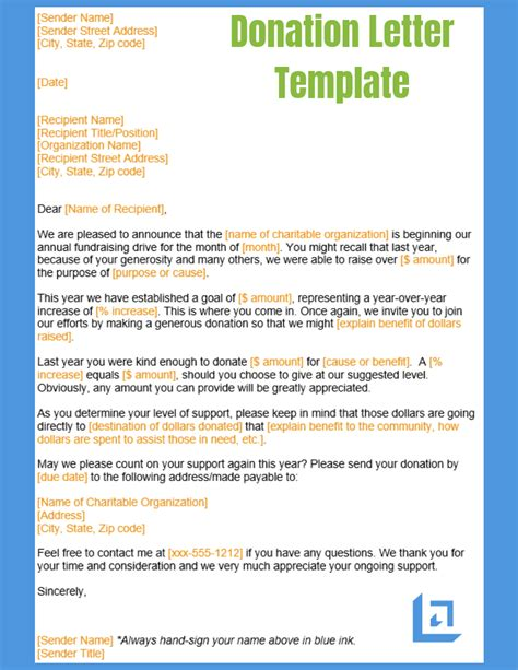 donation letter template business writing templates