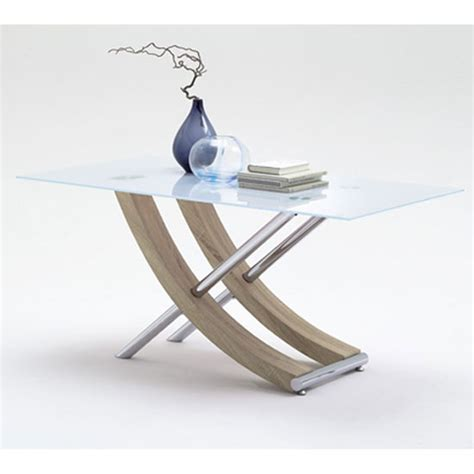 samova glass dining table in sawn oak and chrome legs