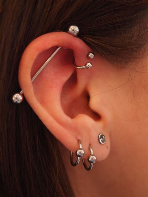 top ear bar 40 exles of triple forward helix piercing