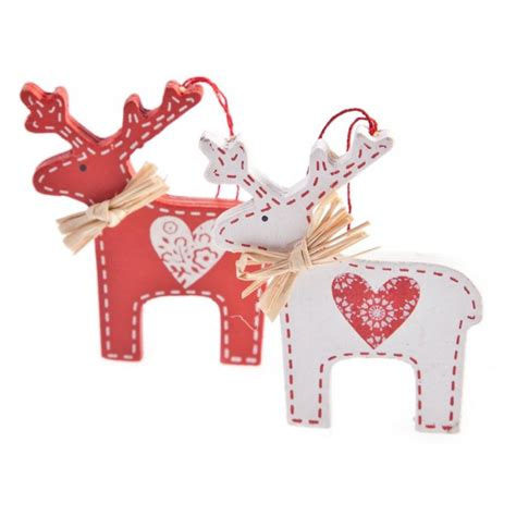 gisela graham christmas set of 2 nordic wooden deer