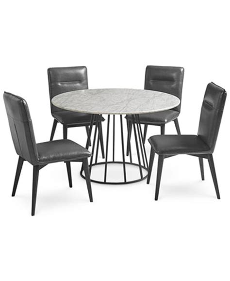 Marble Kitchen Table And Chairs Callisto Marble Dining Set 5 Pc Dining Table 4 Side Chairs Created For Macy S