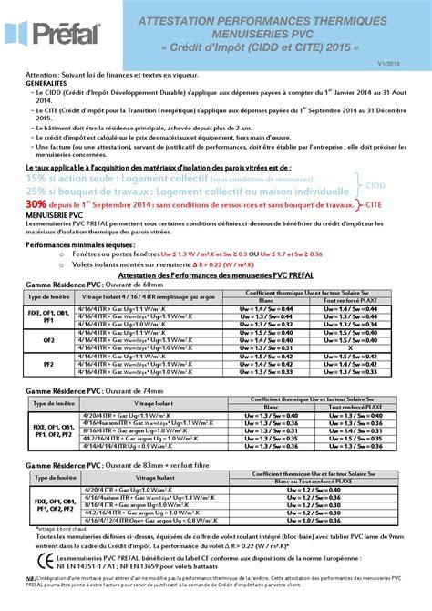 Formulaire Credit D Impot 2015 Attestation Cr 233 Dit D Impot Prefal Pvc V1 2015 By Prefal Issuu