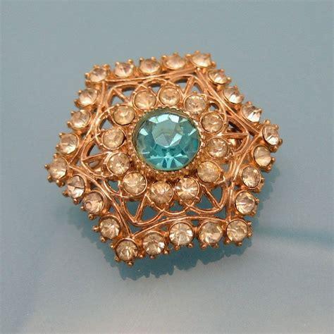 Rhinestone Snowflake Brooch vintage hexagon snowflake rhinestone brooch pin aqua glass