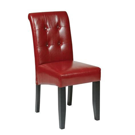 Eco Dining Chairs Ospdesigns Crimson Eco Leather Parsons Dining Chair Met88rd The Home Depot