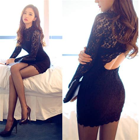 Backless Lace Slim Dress Black slim backless lace dress on luulla