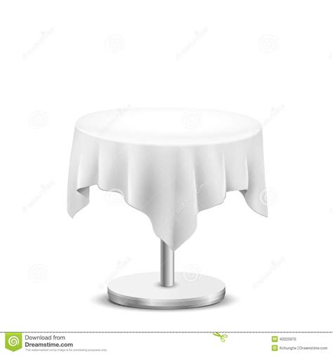 round table with white tablecloth white round table with cloth stock vector image 43225970