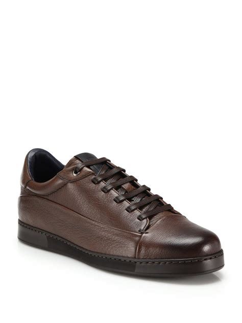 mens brown leather sneakers lyst ermenegildo zegna manhattan leather sneakers in
