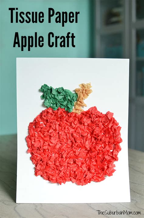 Apple Paper Craft - tissue paper apple craft for preschoolers