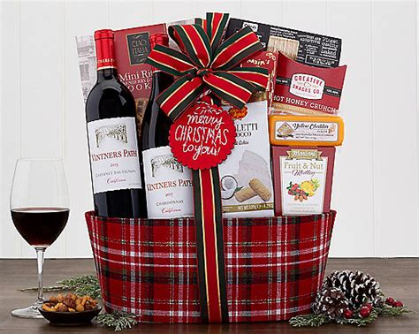 merry christmas   red white wine gift basket  gift baskets