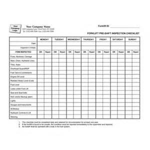 Forklift inspection form forklift pre shift inspection checklist item