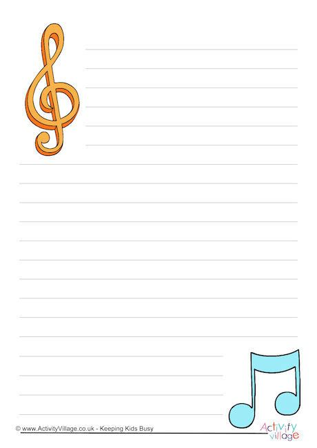 song writing paper writing paper