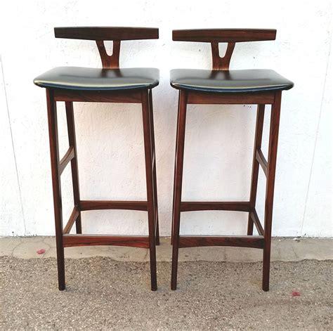 Pair of Mid Century Danish Modern Rosewood Bar Stools by