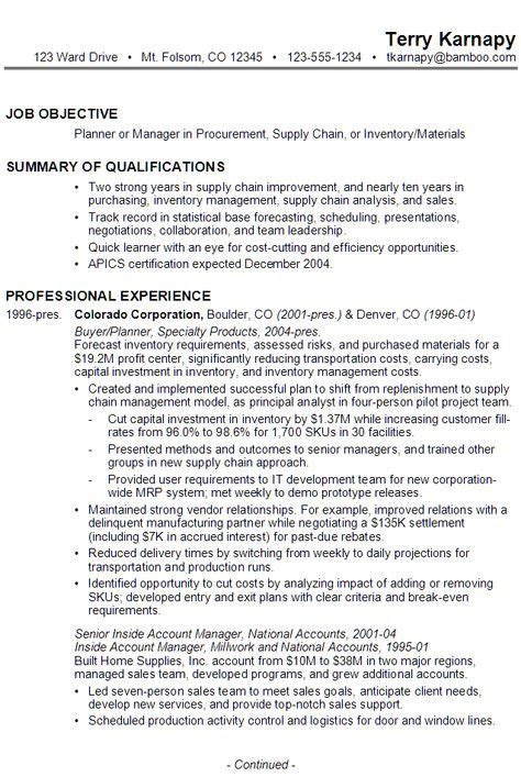 sle resume for someone seeking a as a planner or