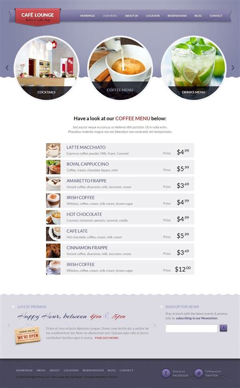 themeforest free html templates coffee lounge review a html restaurant template by