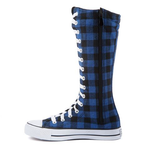 womens knee high top canvas sneakers casual boots lace up