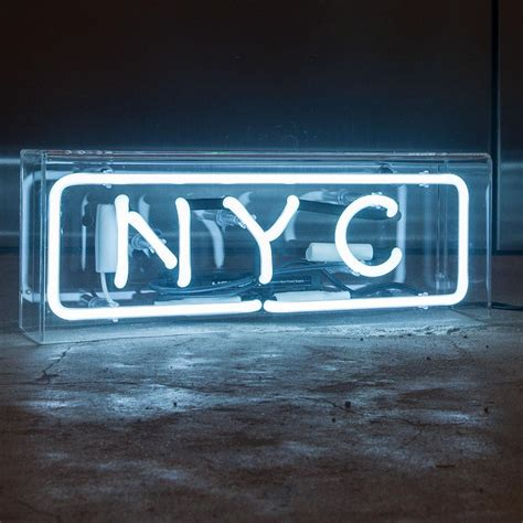 neon light signs nyc nyc neon sign in acrylic box mk neon