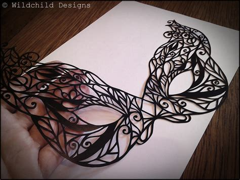 beautiful gothic masquerade mask paper cutting template for