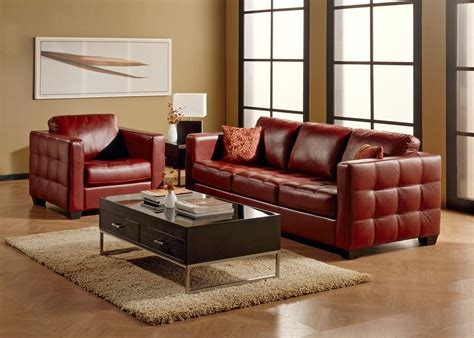 Dark Red Leather Sofa Top Grain Leather Sofa Thesofa