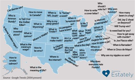 here s what each state googled more than any other state in 2014 estately blog here are the most embarrassing questions googled by each