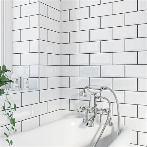 british ceramic tile metro bevel white gloss tile 100mm x