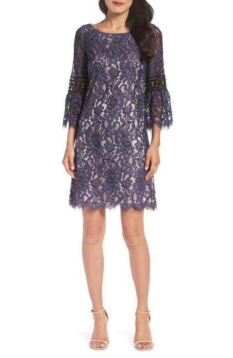 Lace Bell Sleeve A Line Dress chic lace a line dresses for wedding guests