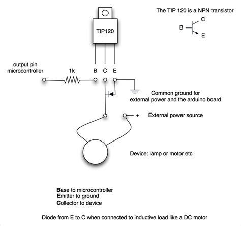 transistor how to use load tip120 tip122 transistor switching circuit forum community ez robot