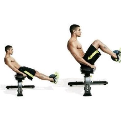 knee on bench dumbbell medicine ball seated knee tucks exercise how to