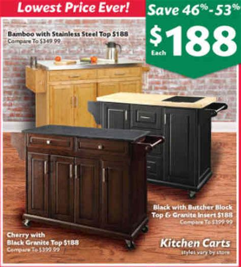big lots kitchen island black friday deal bamboo kitchen island with stainless