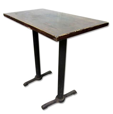 wooden top bar height table with iron legs olde things