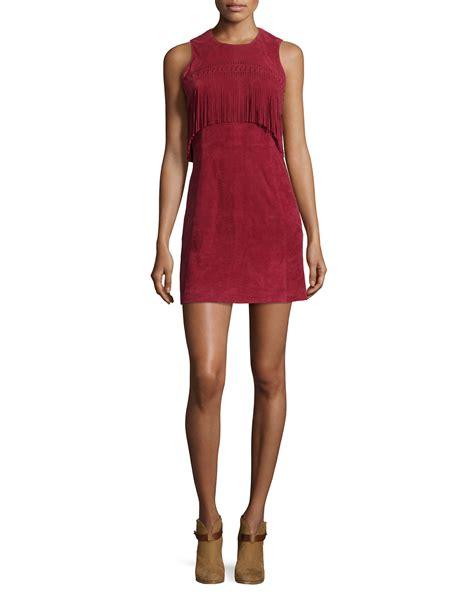 Dress Sharapova Sleeveless Mini minkoff sleeveless suede mini dress w fringe in cranberry lyst