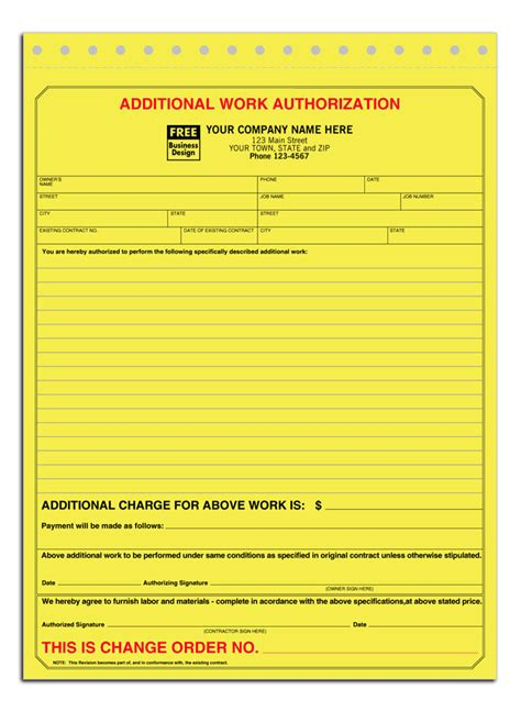 Change Order Forms 30 Off Retail Additional Work Authorization Form Additional Work Order Template Free