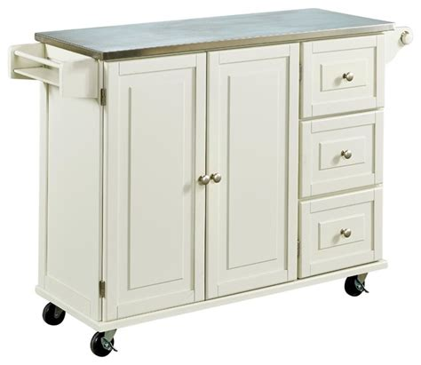stainless steel kitchen island cart liberty kitchen cart with stainless steel top white