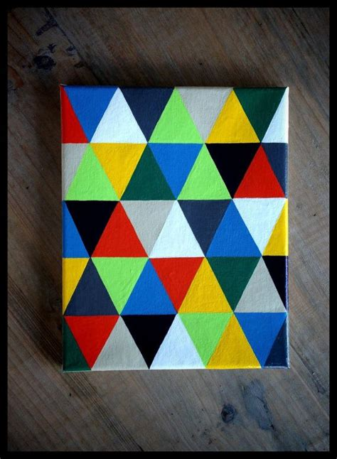 colorful geometric painting 8 quot x 10 quot acrylic on canvas