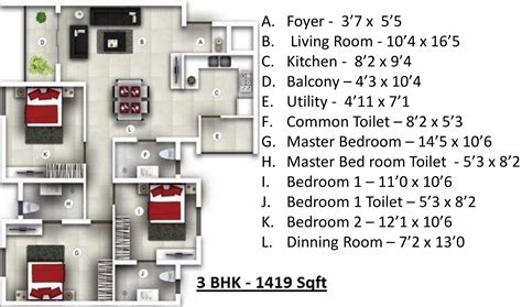Avalon Floor Plan by 1419 Sq Ft 3 Bhk 3t Apartment For Sale In Bren Avalon
