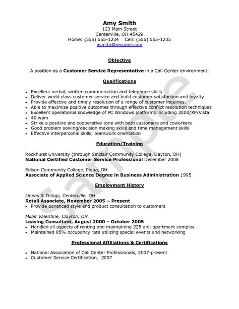 Objective For Resume Customer Service Call Center Agent