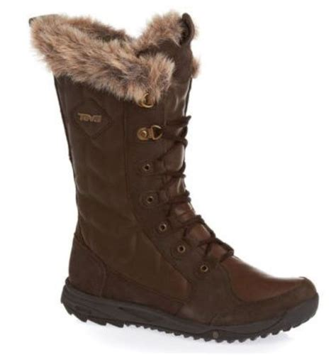 s winter boots with fur teva lenawee womens waterproof brown fur trim leather new