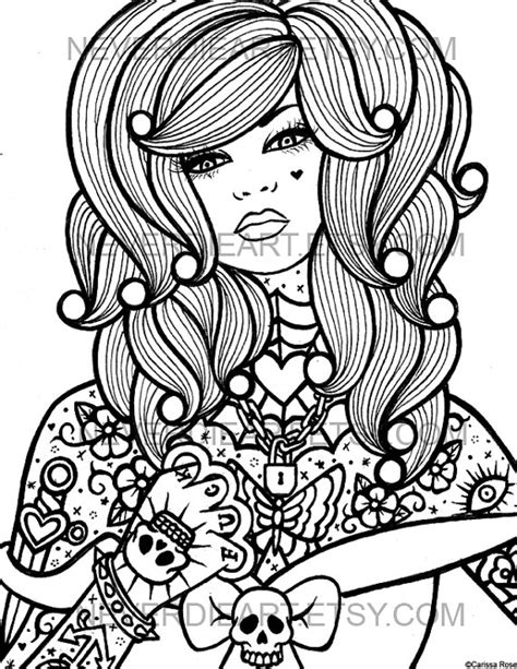 hard rose coloring pages digital download print your own coloring book outline page