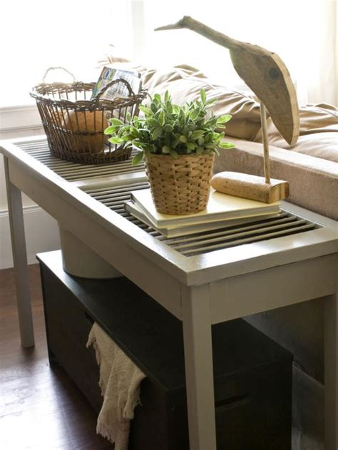 sofa table decorating ideas pictures build a shutter console table hgtv