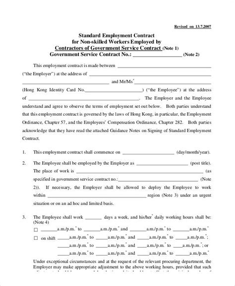 standard contract of employment template standard employment contract sle 7 exles in word pdf