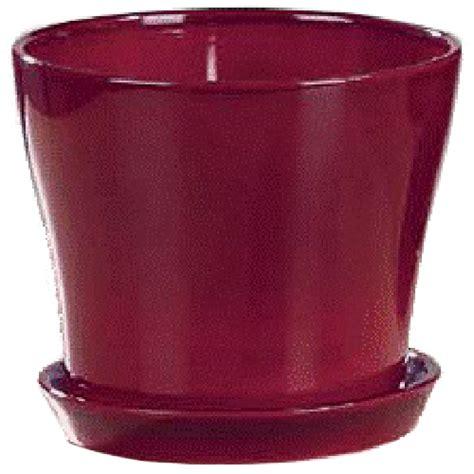 ceramic flower pot  saucer  red rona