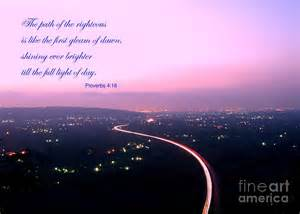 illuminated highway at dusk greeting card with scripture verse by yali shi