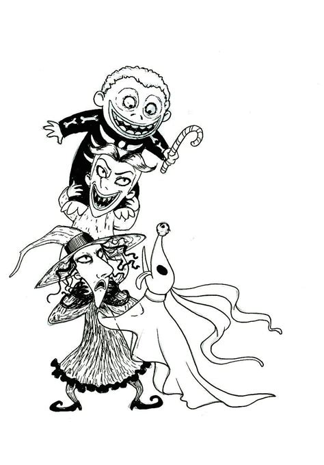 zero from nightmare before christmas coloring pages lock shock and barrel by sherwood art on deviantart