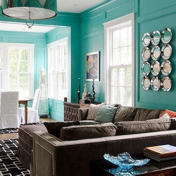 tiffany blue living room brown sectional sofa contemporary living room olson