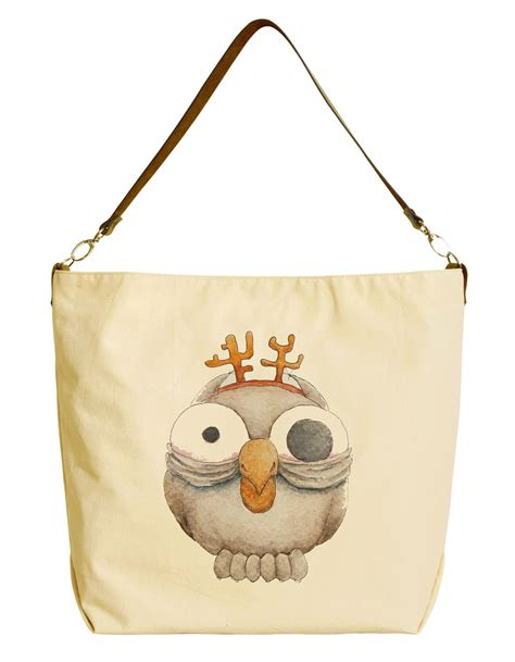 Totebag Owl Murah painted owl printed canvas tote bag with leather