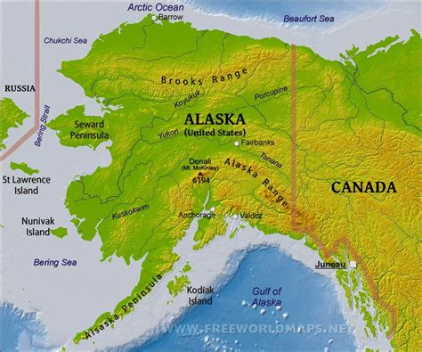 where is alaska on the united states map physical map of alaska