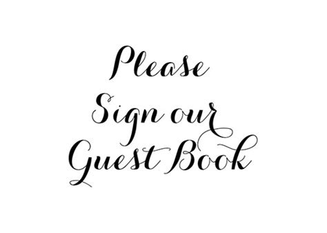 Simple Calligraphy Quot Sign Our Guest Book Quot Sign Sign Our Guest Book Template