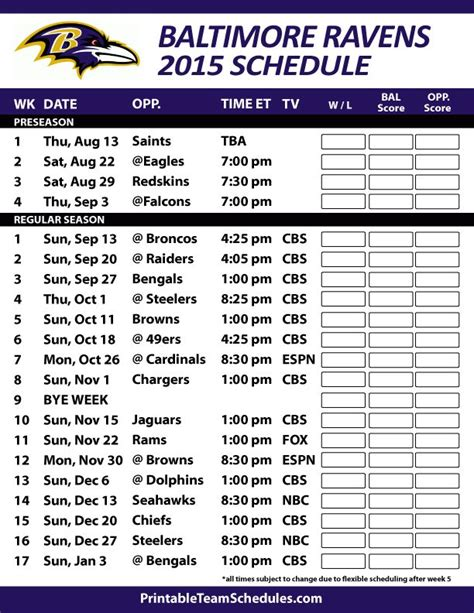printable ravens schedule 2015 17 best ideas about ravens schedule on pinterest