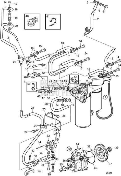 Volvo Penta Exploded view / schematic Fuel System SN