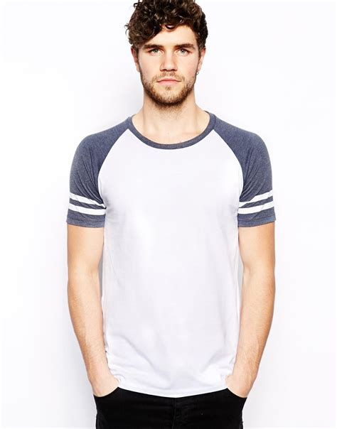 And Stripe Raglan Tshirt asos tshirt with contrast raglan stripe sleeves in blue
